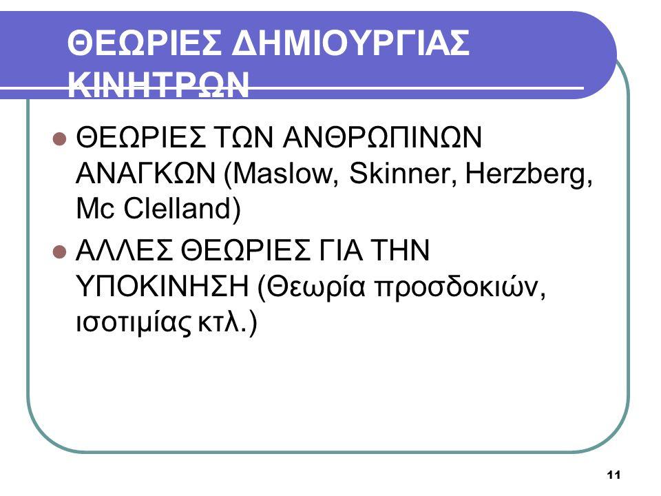 ΘΕΩΡΙΕΣ ΔΗΜΙΟΥΡΓΙΑΣ ΚΙΝΗΤΡΩΝ