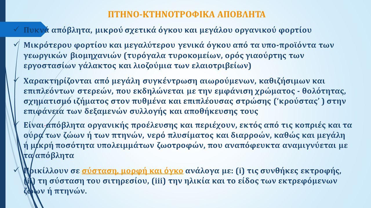 ΠΤΗΝΟ-ΚΤΗΝΟΤΡΟΦΙΚΑ ΑΠΟΒΛΗΤΑ