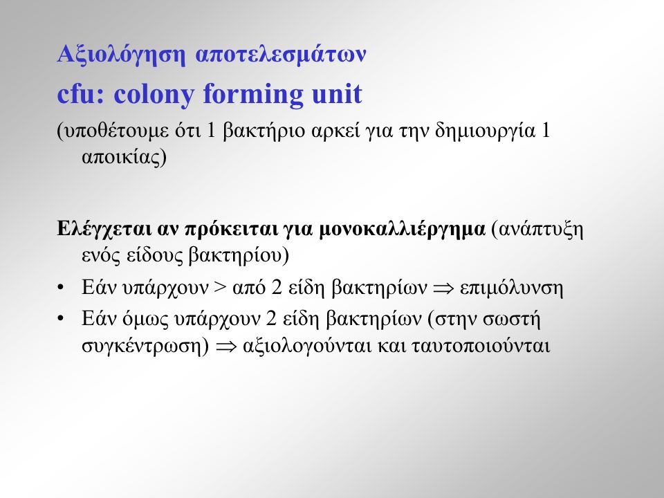 cfu: colony forming unit