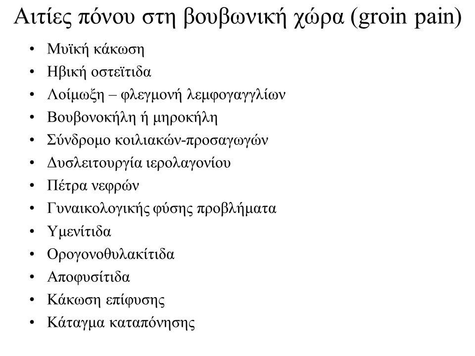 Αιτίες πόνου στη βουβωνική χώρα (groin pain)