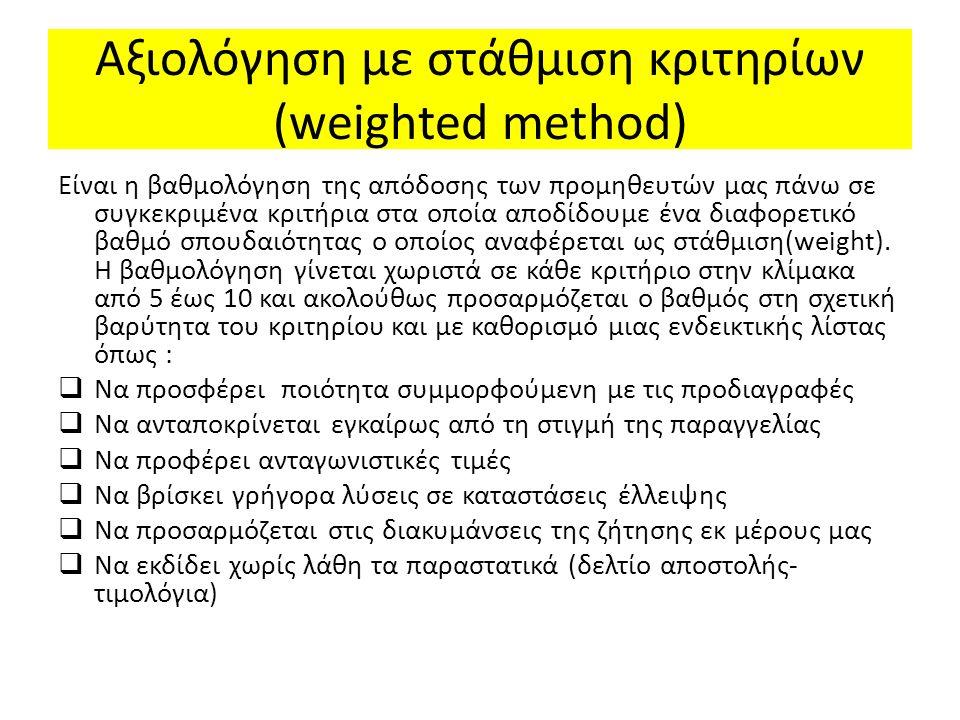 Αξιολόγηση με στάθμιση κριτηρίων (weighted method)