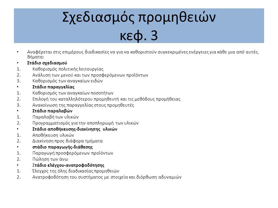 Σχεδιασμός προμηθειών κεφ. 3