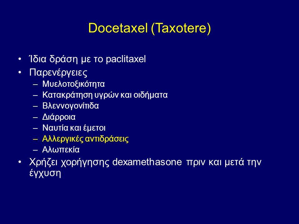 Docetaxel (Taxotere) Ίδια δράση με το paclitaxel Παρενέργειες