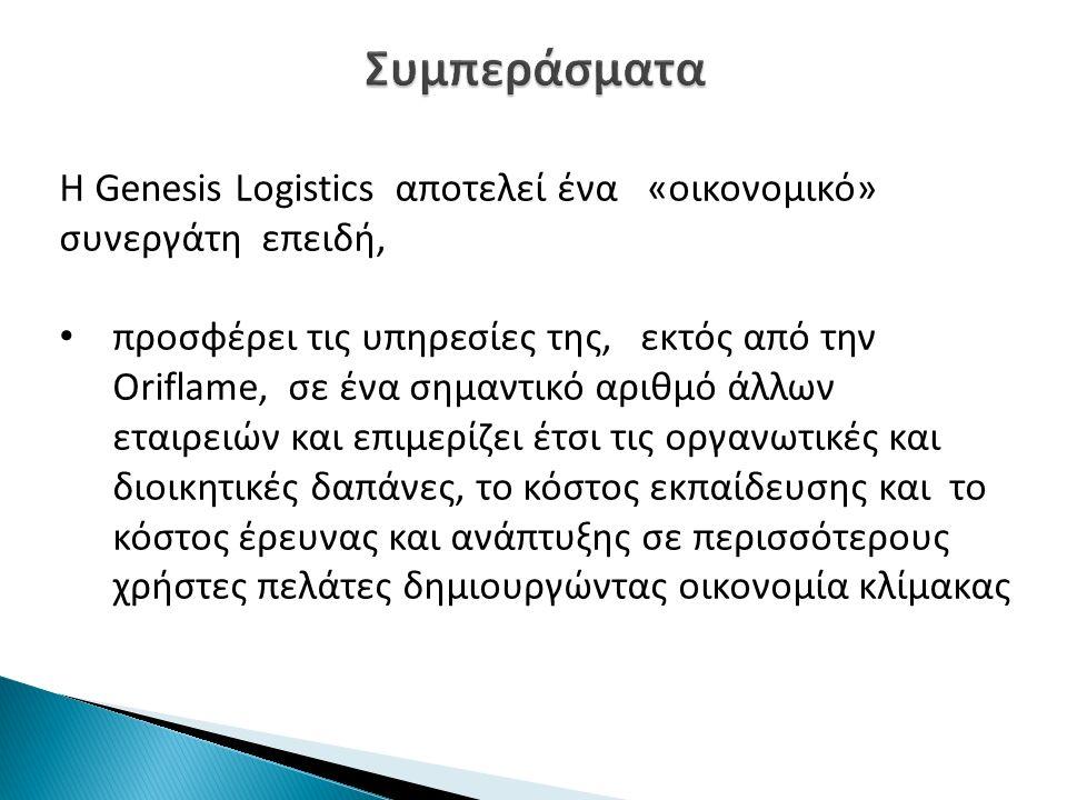 Συμπεράσματα Η Genesis Logistics αποτελεί ένα «οικονομικό» συνεργάτη επειδή,