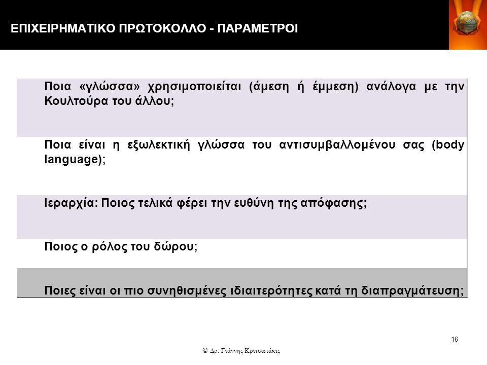 ΕΠΙΧΕΙΡΗΜΑΤΙΚΟ ΠΡΩΤΟΚΟΛΛΟ - ΠΑΡΑΜΕΤΡΟΙ