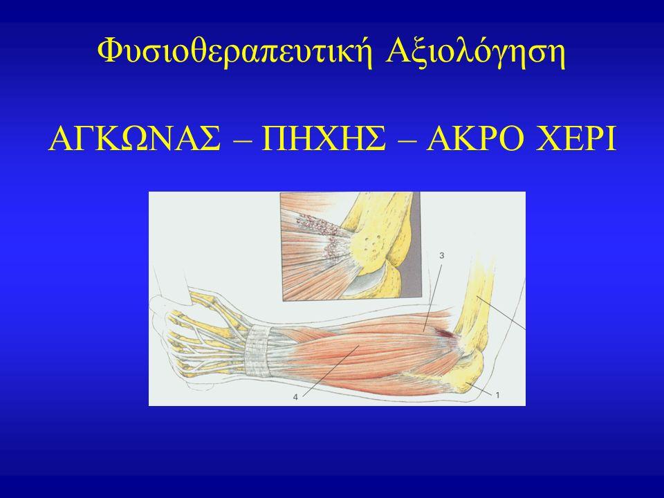 Φυσιοθεραπευτική Αξιολόγηση AΓΚΩΝΑΣ – ΠΗΧΗΣ – ΑΚΡΟ ΧΕΡΙ