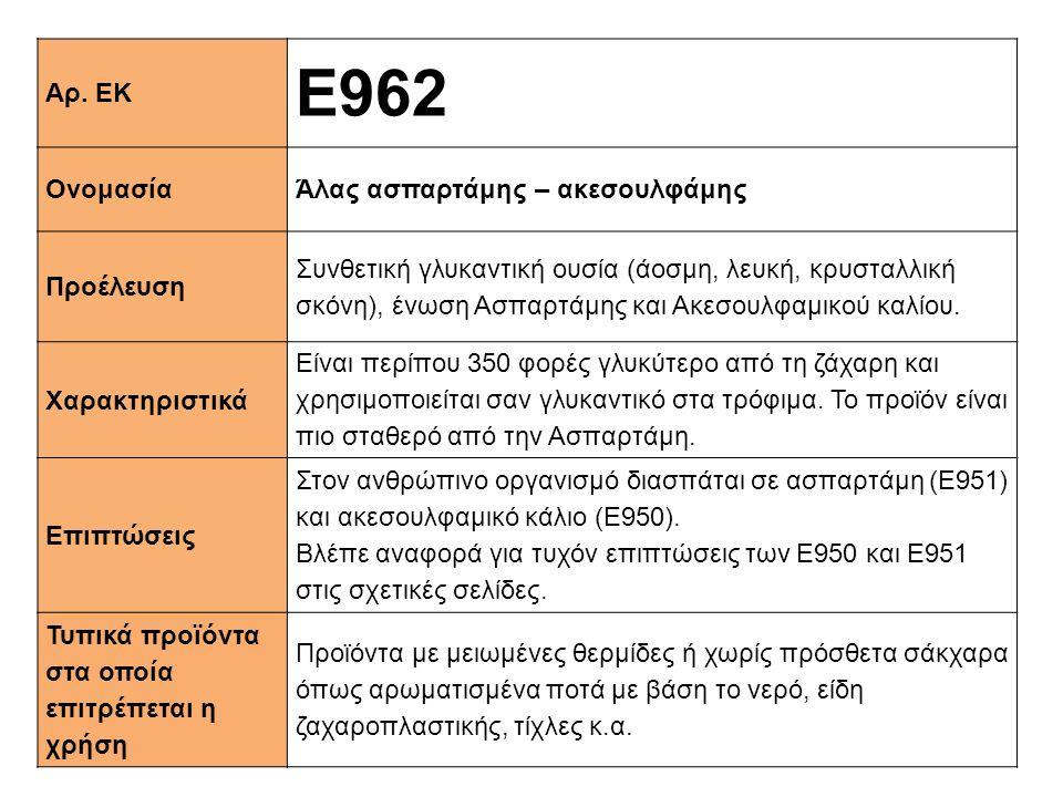 Ε962 Αρ. ΕΚ Ονομασία Άλας ασπαρτάμης – ακεσουλφάμης Προέλευση
