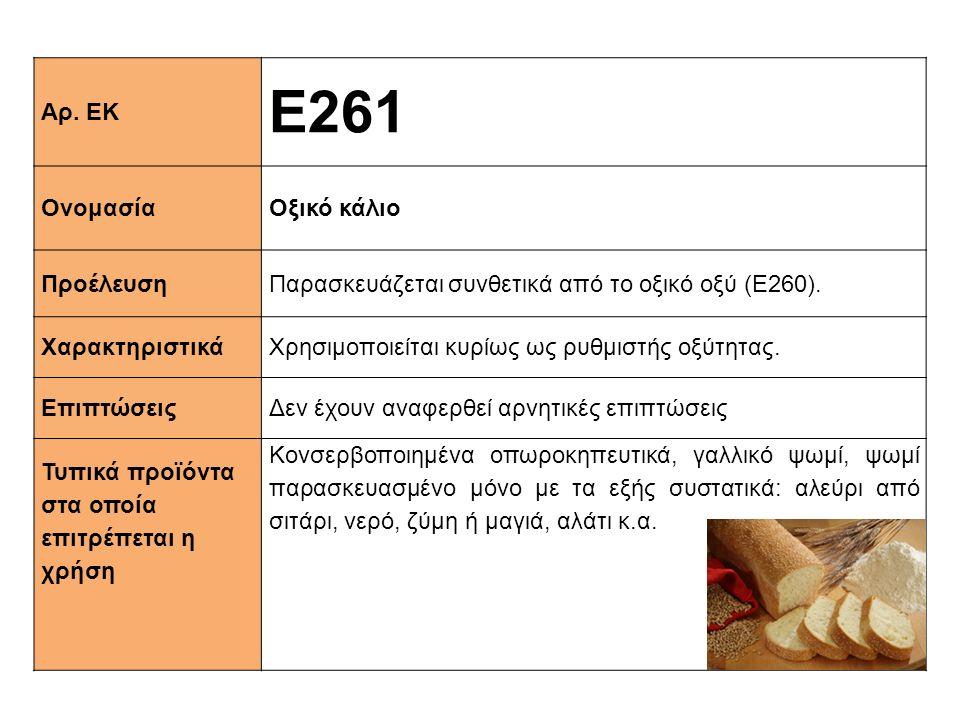 Ε261 Αρ. ΕΚ Ονομασία Οξικό κάλιο Προέλευση