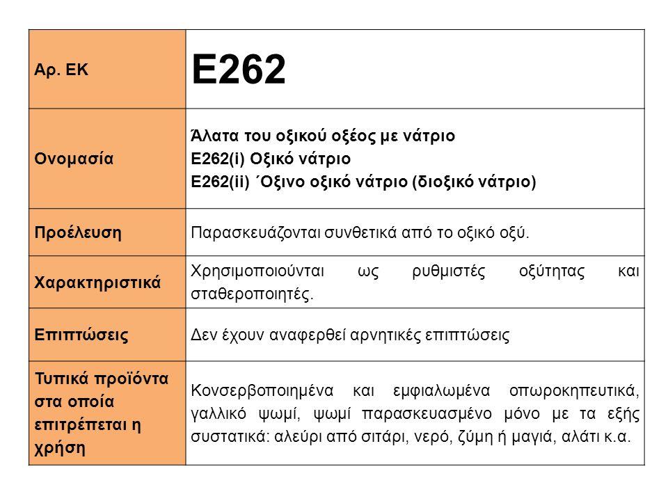 Ε262 Αρ. ΕΚ Ονομασία Άλατα του οξικού οξέος με νάτριο