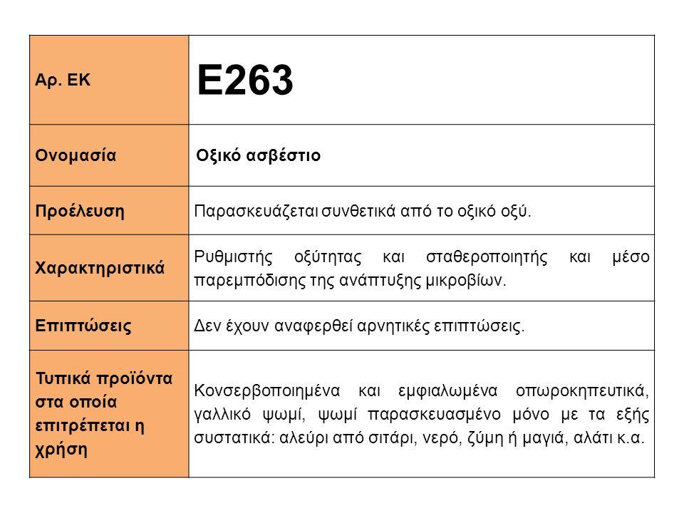 Ε263 Αρ. ΕΚ Ονομασία Οξικό ασβέστιο Προέλευση