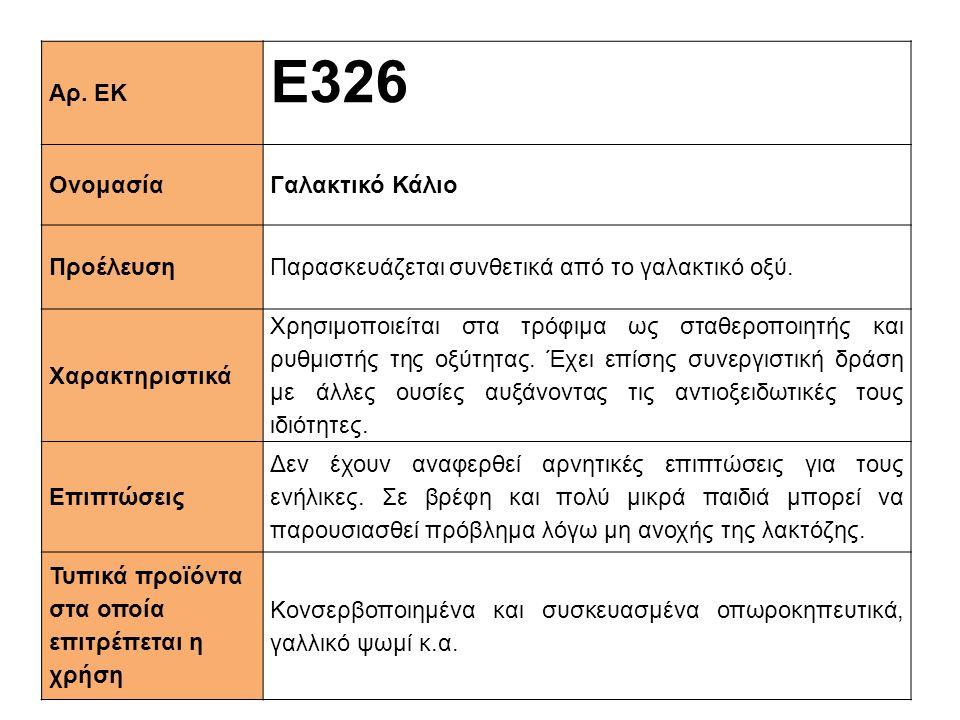 Ε326 Αρ. ΕΚ Ονομασία Γαλακτικό Κάλιο Προέλευση