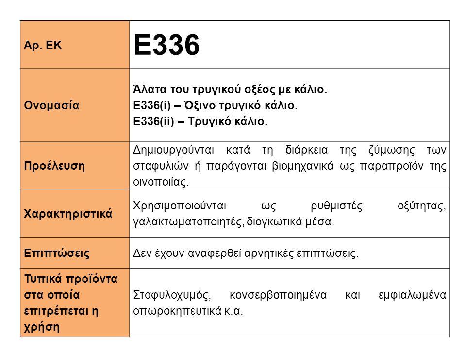 E336 Αρ. ΕΚ Ονομασία Άλατα του τρυγικού οξέος με κάλιο.