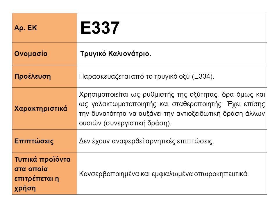 E337 Αρ. ΕΚ Ονομασία Τρυγικό Καλιονάτριο. Προέλευση