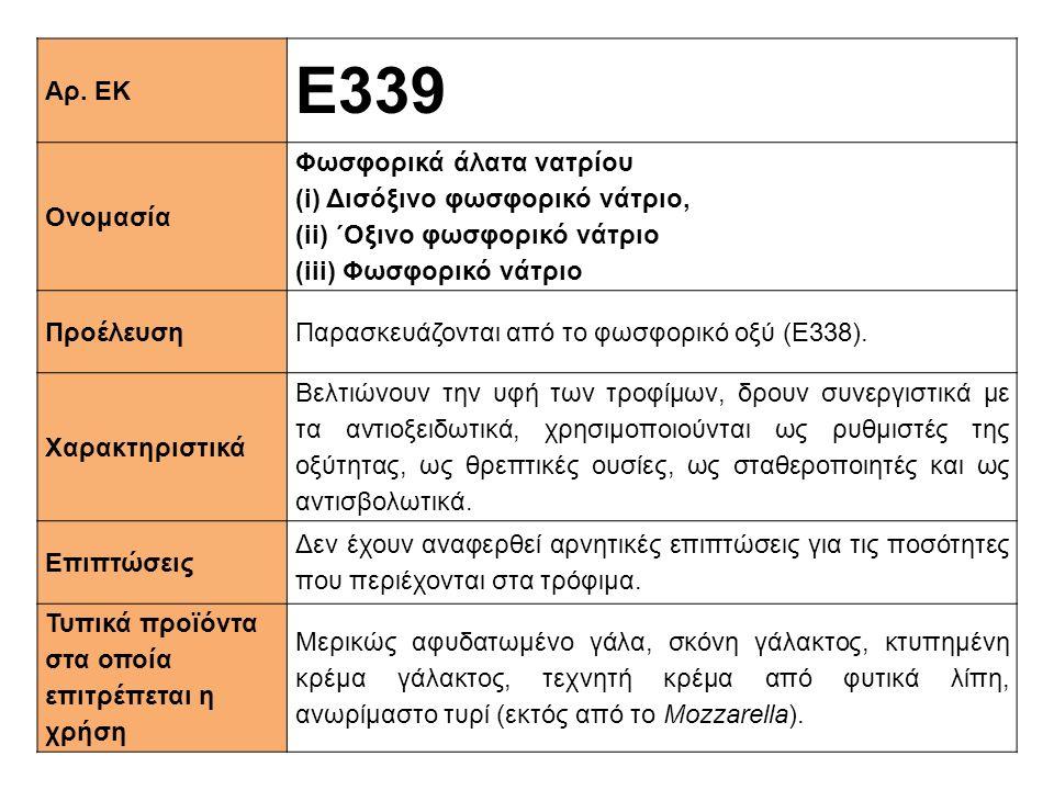 Ε339 Αρ. ΕΚ Ονομασία Φωσφορικά άλατα νατρίου