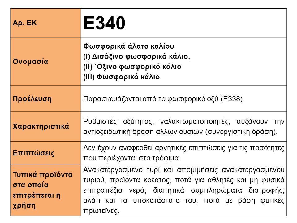 Ε340 Αρ. ΕΚ Ονομασία Φωσφορικά άλατα καλίου