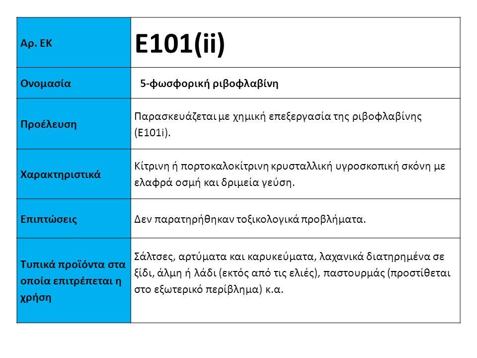 Ε101(ii) Αρ. ΕΚ Ονομασία 5-φωσφορική ριβοφλαβίνη Προέλευση