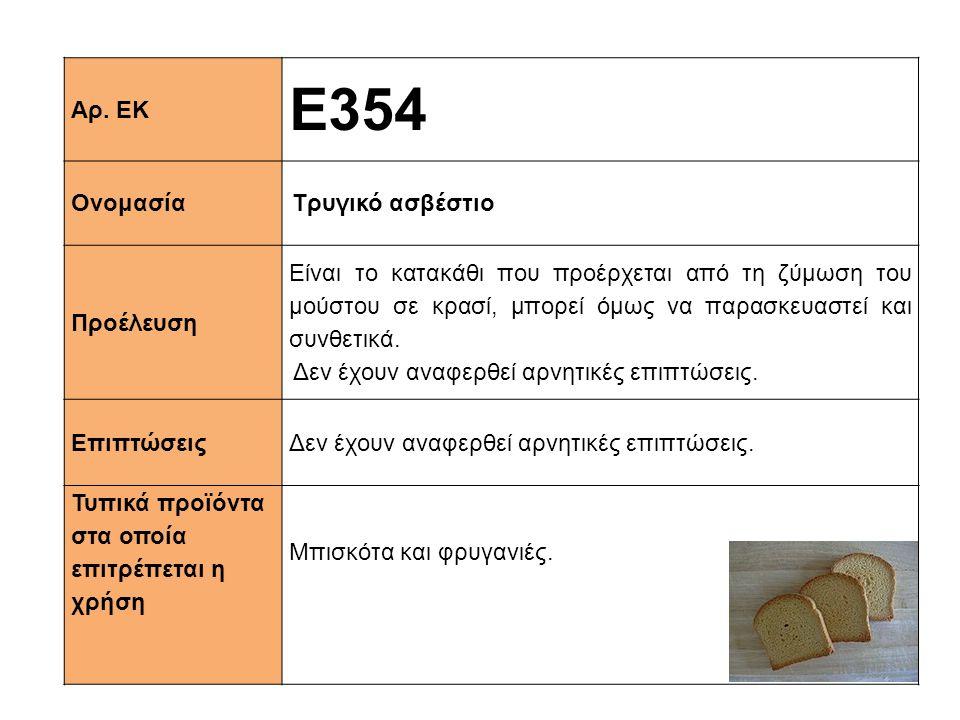 Ε354 Αρ. ΕΚ Ονομασία Τρυγικό ασβέστιο Προέλευση