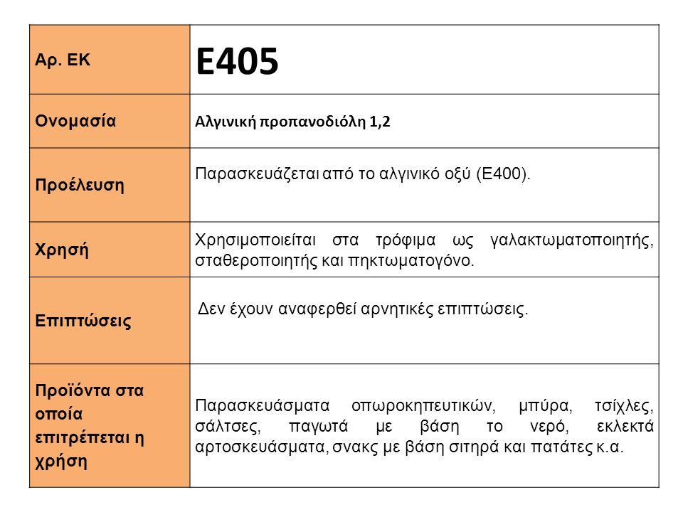 Ε405 Αρ. ΕΚ Αλγινική προπανοδιόλη 1,2 Ονομασία