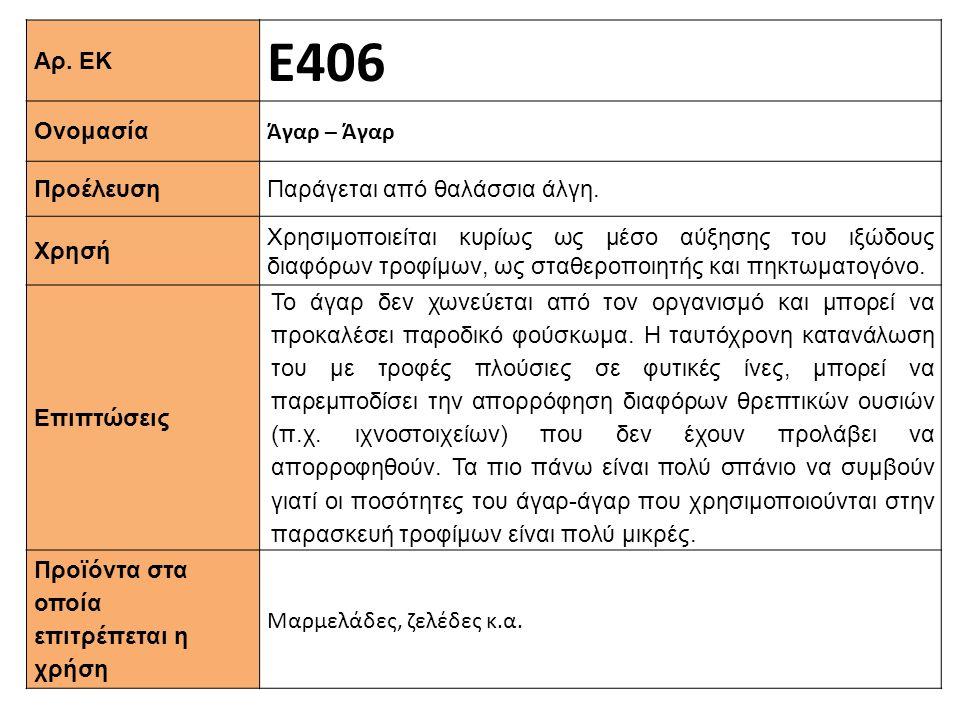 Ε406 Αρ. ΕΚ Άγαρ – Άγαρ Ονομασία Παράγεται από θαλάσσια άλγη.