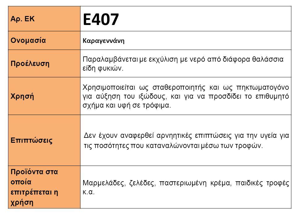 Ε407 Αρ. ΕΚ Καραγεννάνη Ονομασία