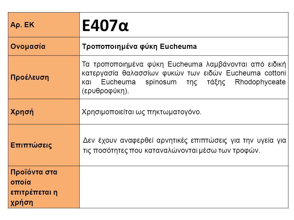 Ε407α Αρ. ΕΚ Τροποποιημένα φύκη Εucheuma Ονομασία