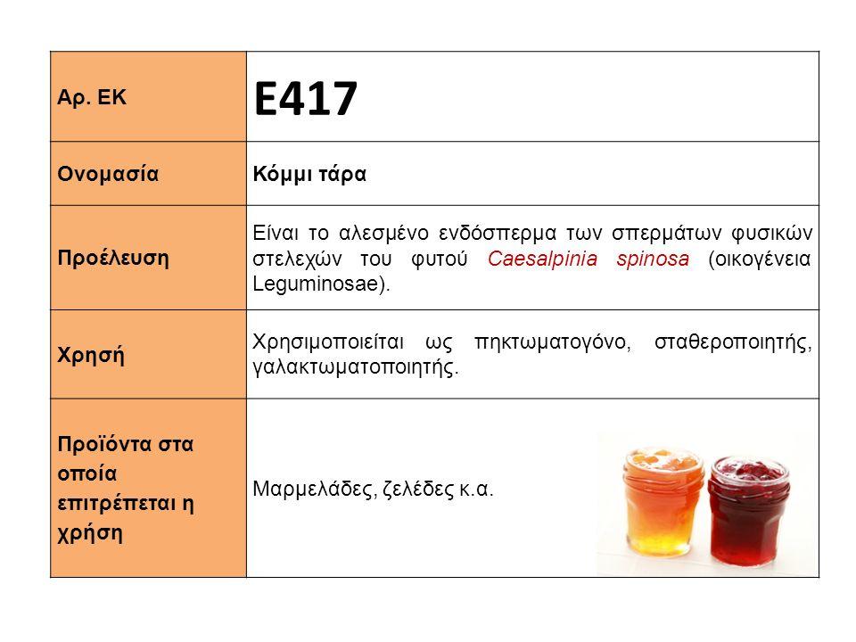 Ε417 Αρ. ΕΚ Κόμμι τάρα Ονομασία
