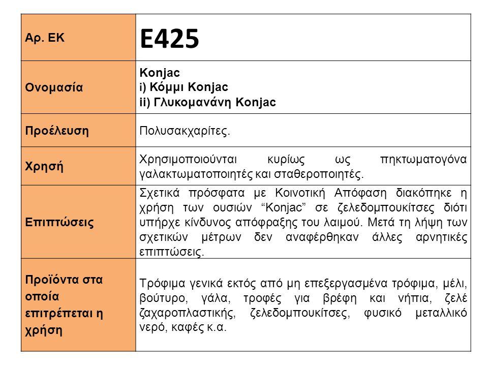Ε425 Αρ. ΕΚ Κonjac Ονομασία i) Κόμμι Konjac ii) Γλυκομανάνη Konjac