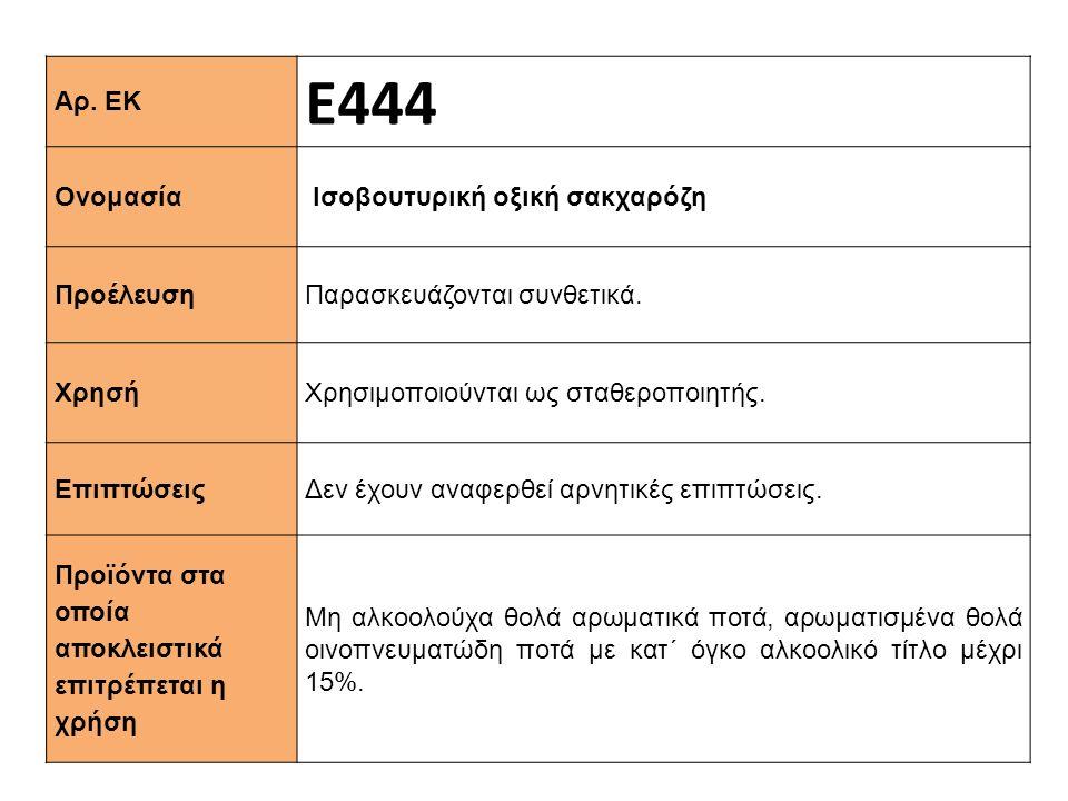 Ε444 Αρ. ΕΚ Ισοβουτυρική οξική σακχαρόζη Ονομασία