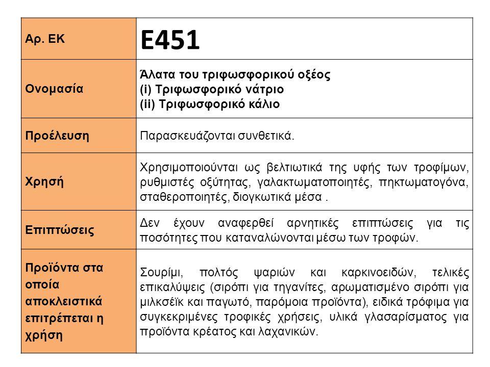 Ε451 Αρ. ΕΚ Άλατα του τριφωσφορικού οξέος Ονομασία