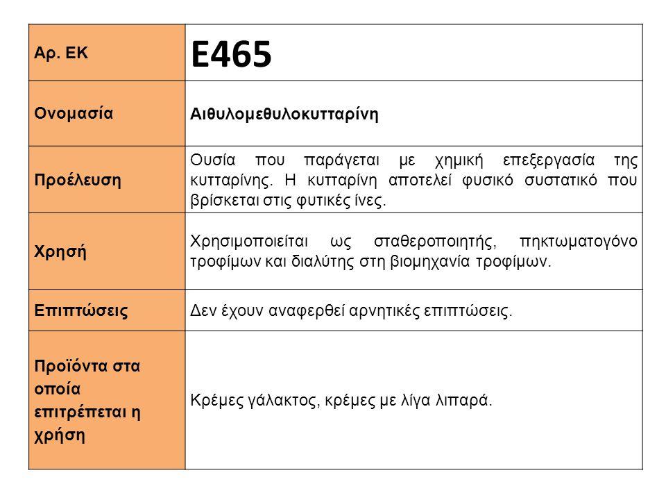 Ε465 Αρ. ΕΚ Αιθυλομεθυλοκυτταρίνη Ονομασία