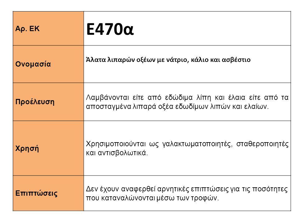 Ε470α Αρ. ΕΚ Άλατα λιπαρών οξέων με νάτριο, κάλιο και ασβέστιο