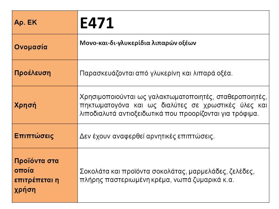 Ε471 Αρ. ΕΚ Μονο-και-δι-γλυκερίδια λιπαρών οξέων Ονομασία
