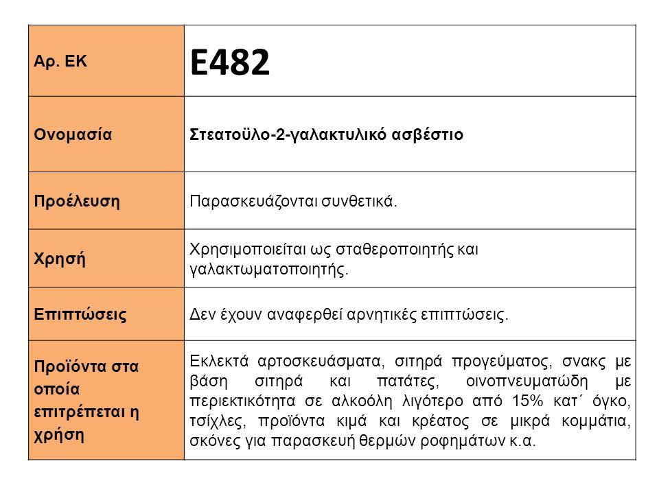 Ε482 Αρ. ΕΚ Στεατοϋλο-2-γαλακτυλικό ασβέστιο Ονομασία