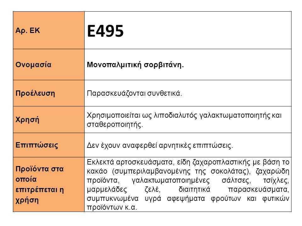 Ε495 Αρ. ΕΚ Ονομασία Μονοπαλμιτική σορβιτάνη. Προέλευση