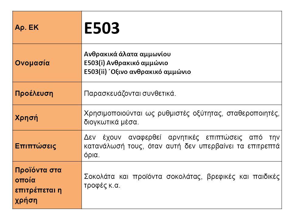 Ε503 Αρ. ΕΚ Ανθρακικά άλατα αμμωνίου Ονομασία