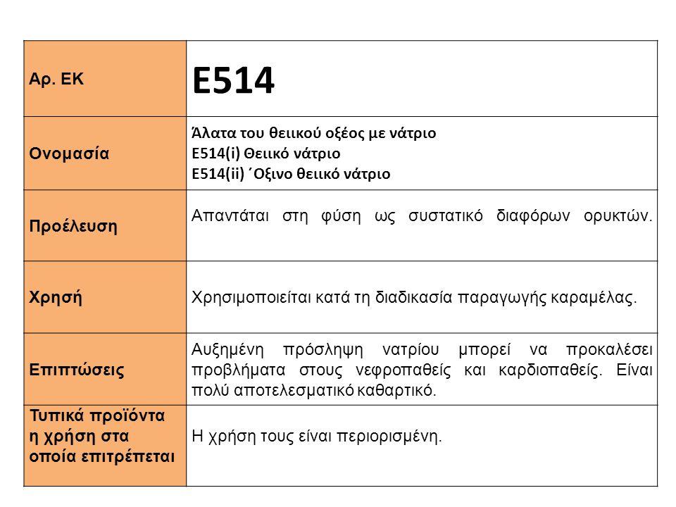 Ε514 Αρ. ΕΚ Ονομασία Άλατα του θειικού οξέος με νάτριο