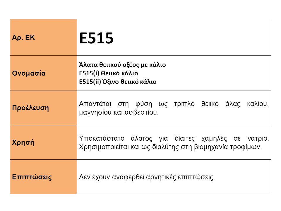 Ε515 Αρ. ΕΚ Άλατα θειικού οξέος με κάλιο Ονομασία Ε515(i) Θειικό κάλιο
