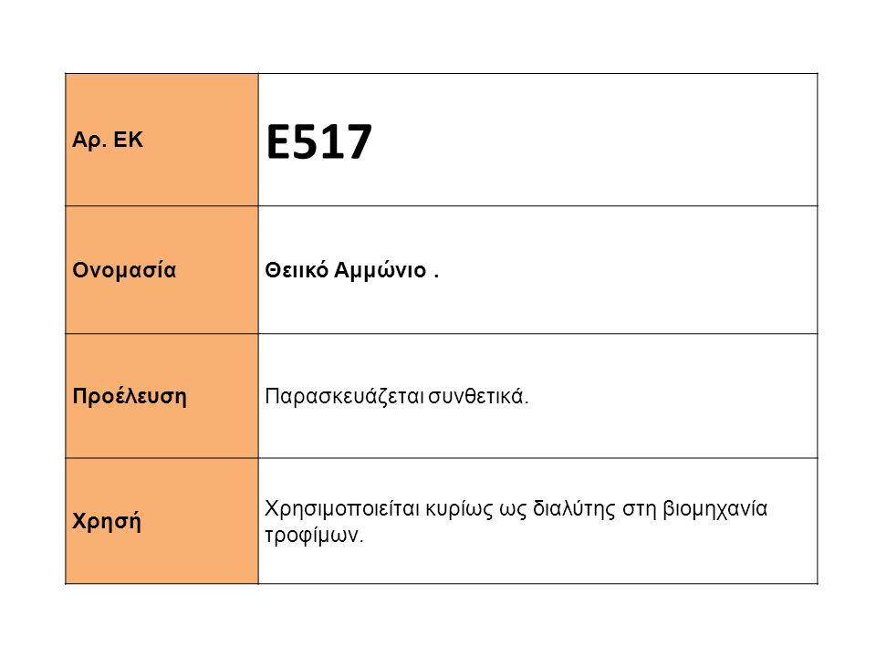 Ε517 Αρ. ΕΚ Θειικό Αμμώνιο . Ονομασία Παρασκευάζεται συνθετικά.