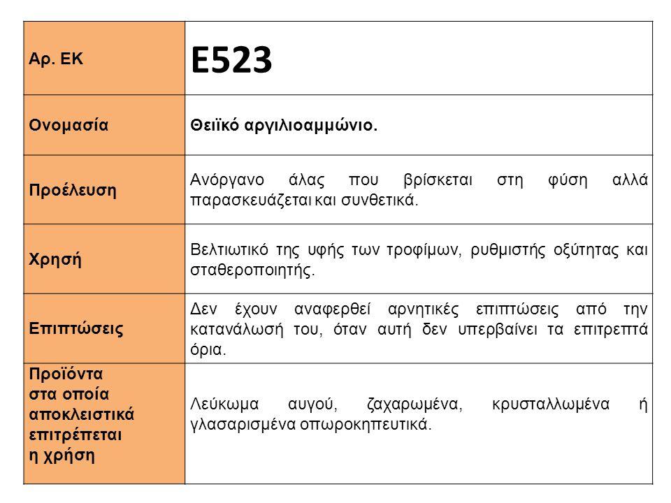 Ε523 Αρ. ΕΚ Θειϊκό αργιλιοαμμώνιο. Ονομασία