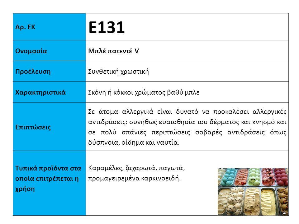 Ε131 Αρ. ΕΚ Ονομασία Μπλέ πατεντέ V Προέλευση Συνθετική χρωστική