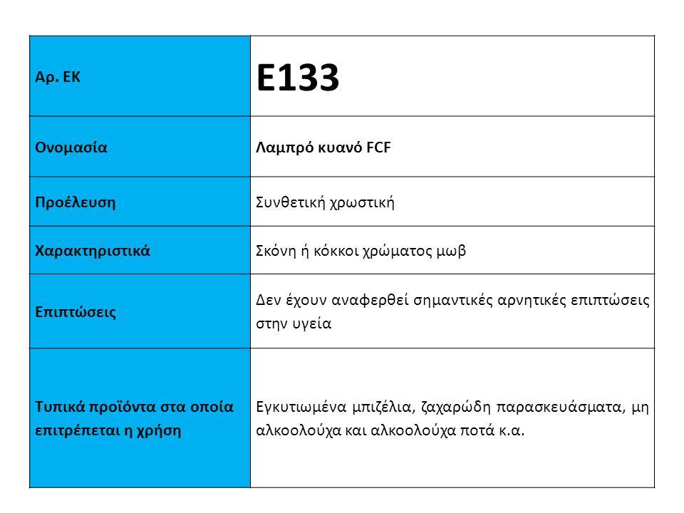 Ε133 Αρ. ΕΚ Ονομασία Λαμπρό κυανό FCF Προέλευση Συνθετική χρωστική