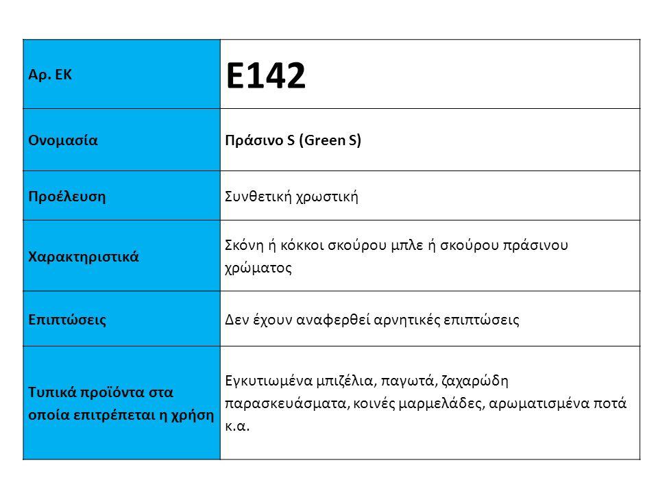 Ε142 Αρ. ΕΚ Ονομασία Πράσινo S (Green S) Προέλευση Συνθετική χρωστική