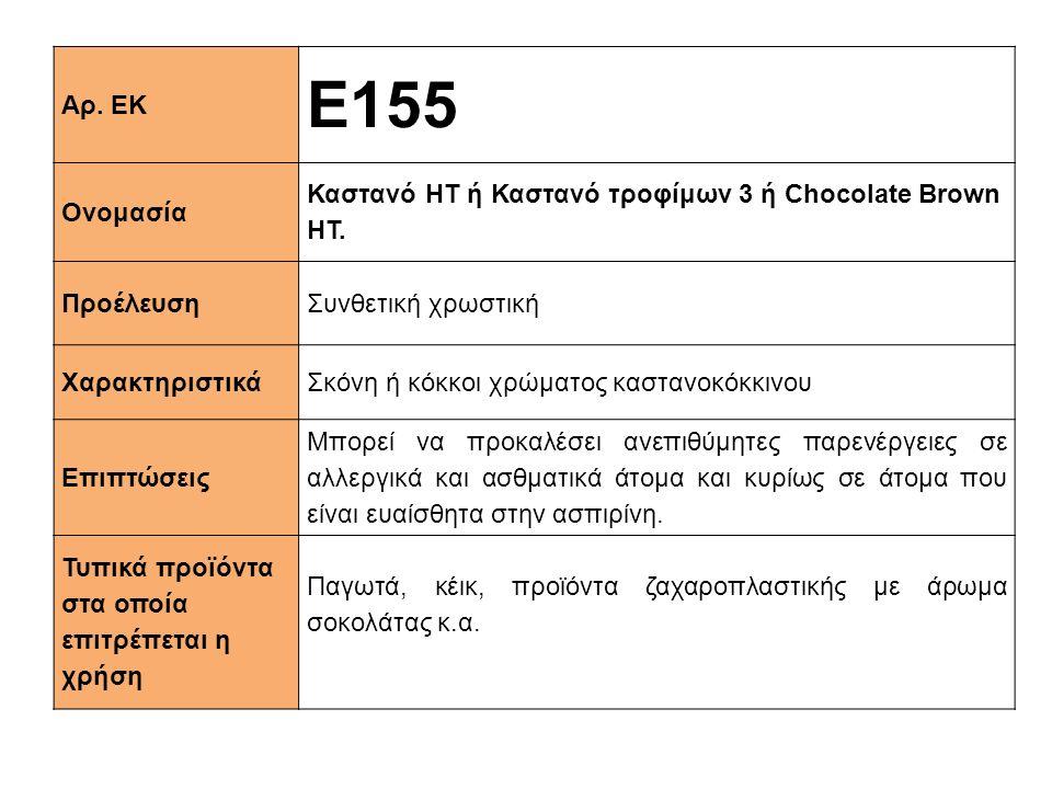 Αρ. ΕΚ E155. Ονομασία. Καστανό ΗΤ ή Καστανό τροφίμων 3 ή Chocolate Brown HT. Προέλευση. Συνθετική χρωστική.
