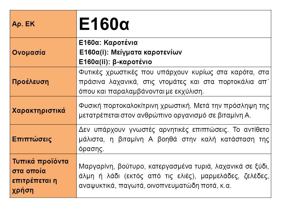 Ε160α Αρ. ΕΚ Ονομασία Ε160α: Καροτένια Ε160α(i): Μείγματα καροτενίων