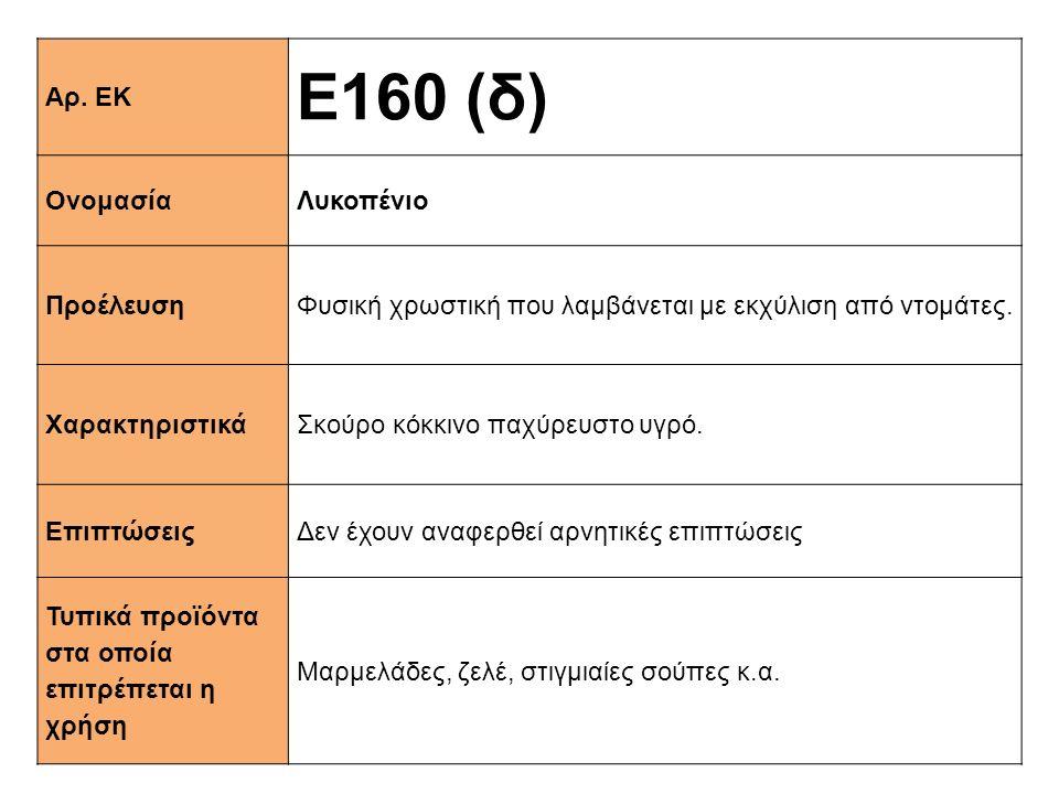Ε160 (δ) Αρ. ΕΚ Ονομασία Λυκοπένιο Προέλευση