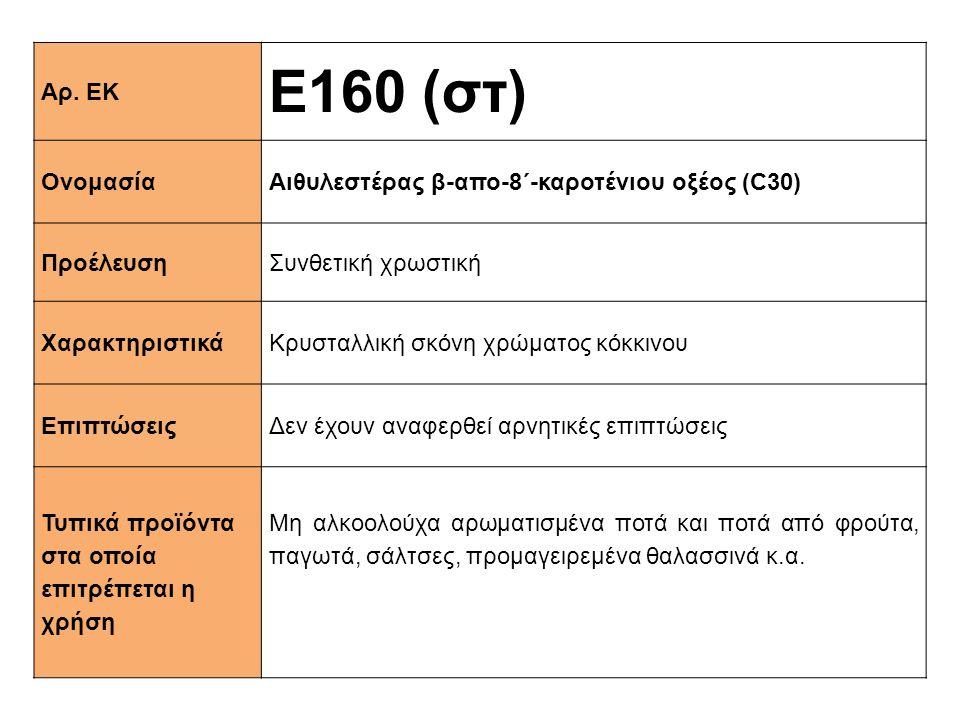 Ε160 (στ) Αρ. ΕΚ Ονομασία Αιθυλεστέρας β-απο-8΄-καροτένιου οξέος (C30)