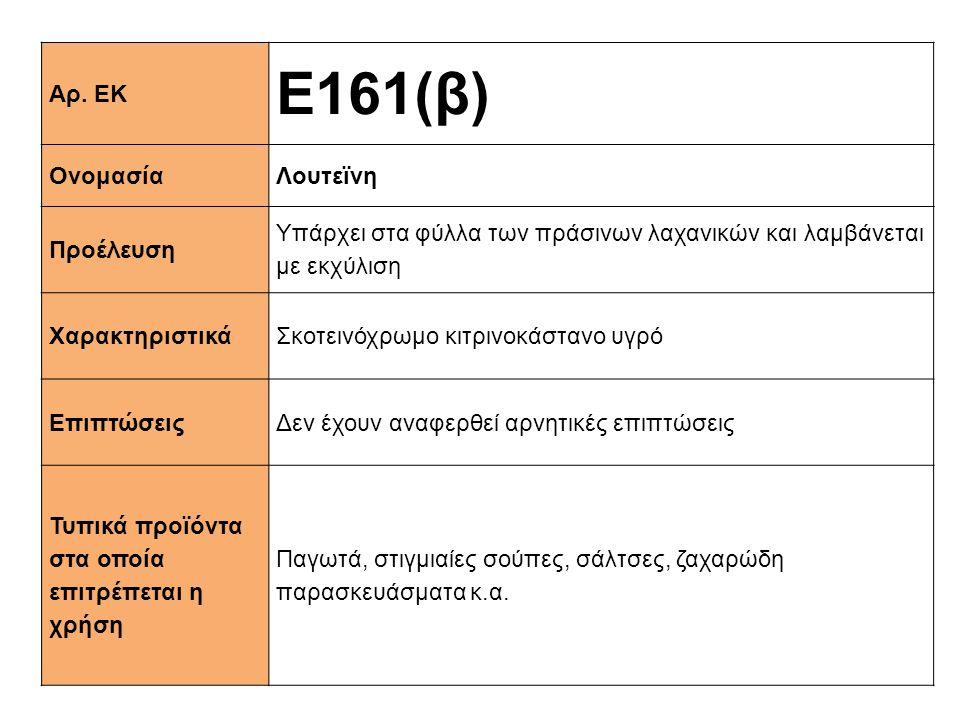 Ε161(β) Αρ. ΕΚ Ονομασία Λουτεϊνη Προέλευση