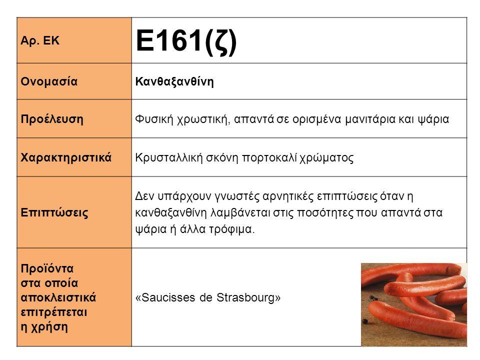 Ε161(ζ) Αρ. ΕΚ Ονομασία Κανθαξανθίνη Προέλευση