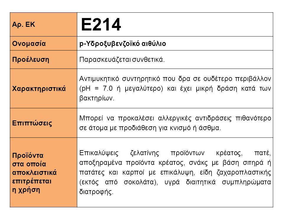 Ε214 Αρ. ΕΚ Ονομασία p-Υδροξυβενζοϊκό αιθύλιο Προέλευση