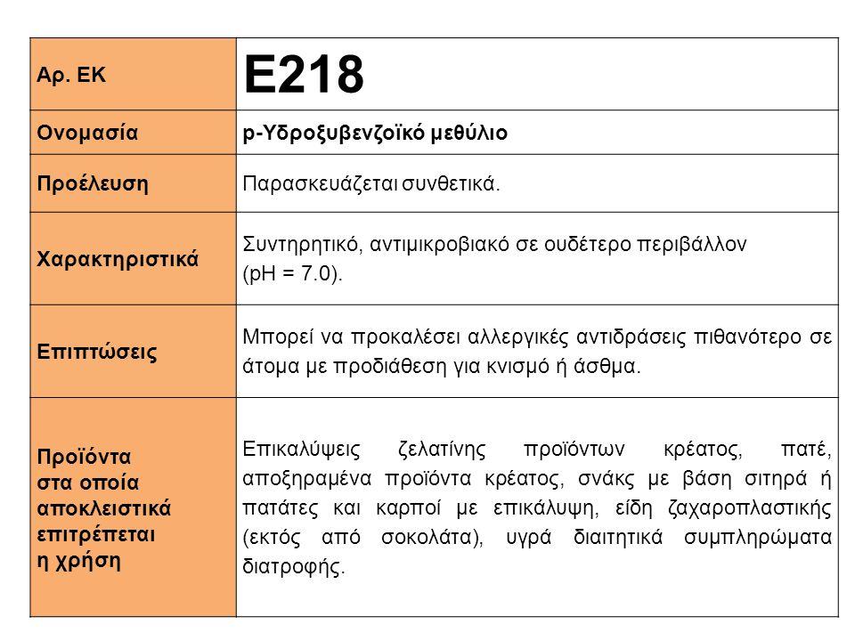 Ε218 Αρ. ΕΚ Ονομασία p-Υδροξυβενζοϊκό μεθύλιο Προέλευση